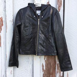 Nine West Leather Crop Hooded Bomer Jacket M Zip